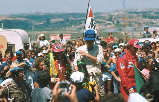 Pódio do GP do Brasil de 1975 (Foto: Divulgação)