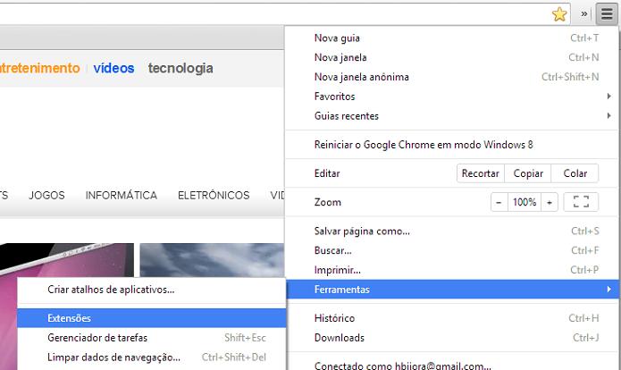 Abrindo página de extensões do Chrome (Foto: Reprodução/Helito Bijora)