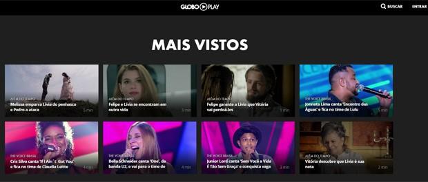 Mais vistos no Globoplay, nova plataforma digital de vídeos da Globo (Foto: Reprodução/Globoplay)