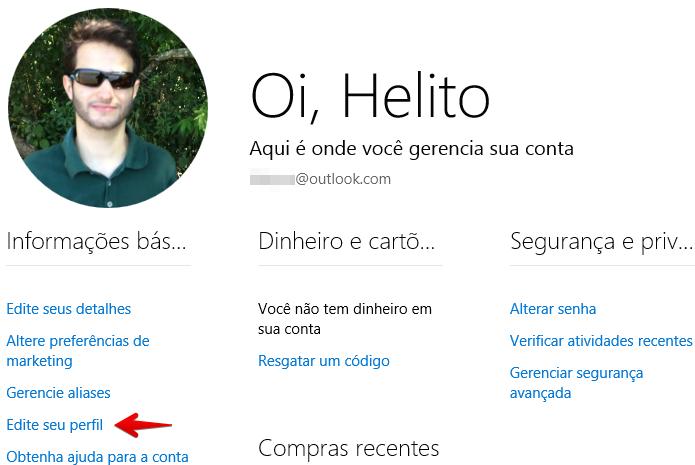 Editando o perfil da conta Microsoft (Foto: Reprodução/Helito Bijora)