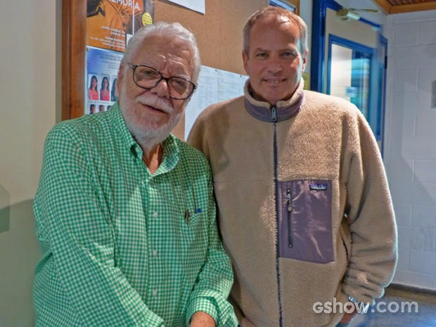 Maneco e o diretor Jayme Monjardim (Foto: Em Família/TV Globo)
