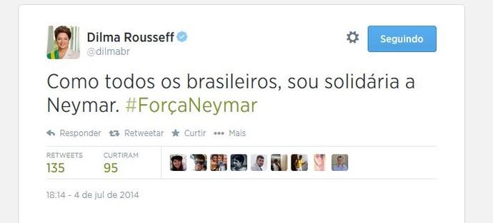 Dilma Rousseff manda recado para Neymar (Foto: Reprodução/Twitter)