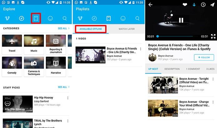 Vimeo ficará com vídeos disponível para assistir offline em uma lista no Android (Foto: Reprodução/Elson de Souza)