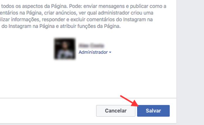 Opção para salvar a alteração para adicionar um moderador de comentários em uma página do Facebook (Foto: Reprodução/Marvin Costa)