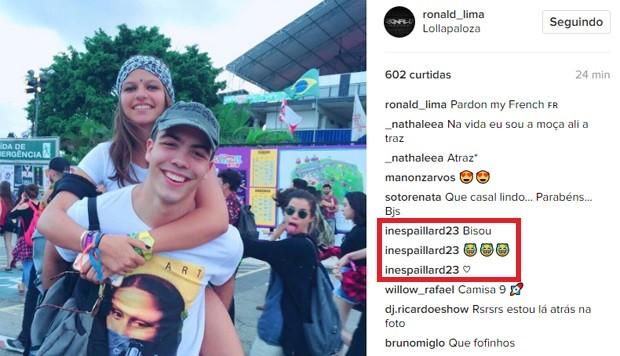 Ines Paillard manda comentários para Ronald (Foto: Reprodução/Instagram)