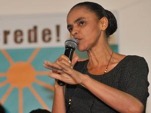 A ex-senadora Marina Silva fala no lançamento de seu novo partido, em fevereiro (Foto: José Cruz/ABr)