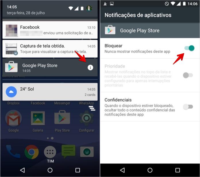 Bloqueando as notificações de um app (Foto: Reprodução/Helito Bijora)