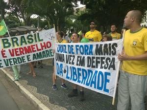Manifestação contra a corrupção em Juiz de Fora (Foto: Roberta Oliveira/G1)
