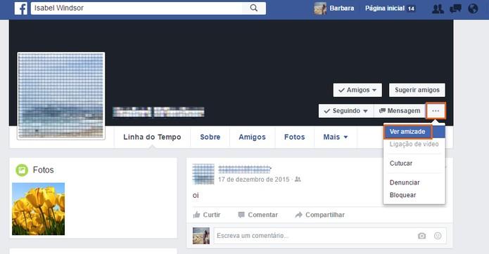 Clique no botão de Ver Amizade no perfil do seu amigo do Facebook (Foto: Reprodução/Barbara Mannara)