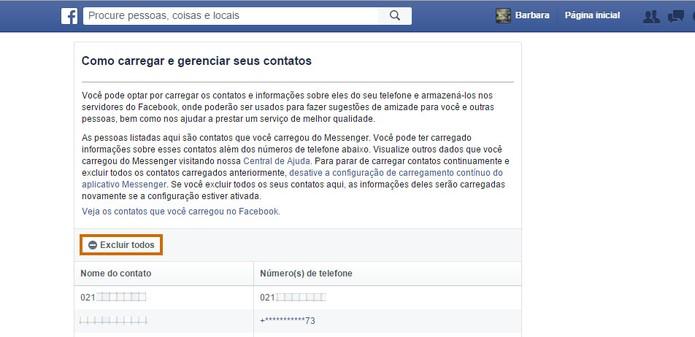 Se preferir a página oferece um botão para excluir os contatos pelo Facebook (Foto: Reprodução/Barbara Mannara)