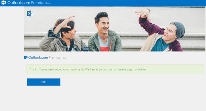 É possível se cadastrar na fila de espera de novos convites para usar o Outlook Premium de forma gratuita por um ano (Foto: Reprodução/Filipe Garrett)