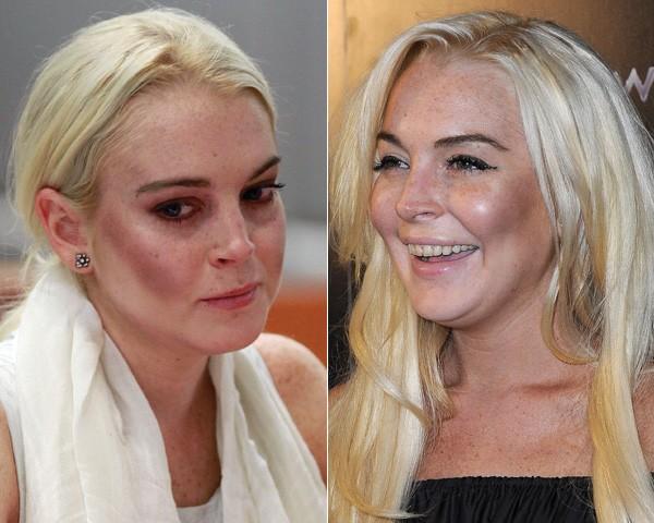 Cuidado para não exagerar no contorno ou usar um tom muito mais escuro que a sua pele, como aconteceu com Lindsay Lohan (Foto: Getty Images)