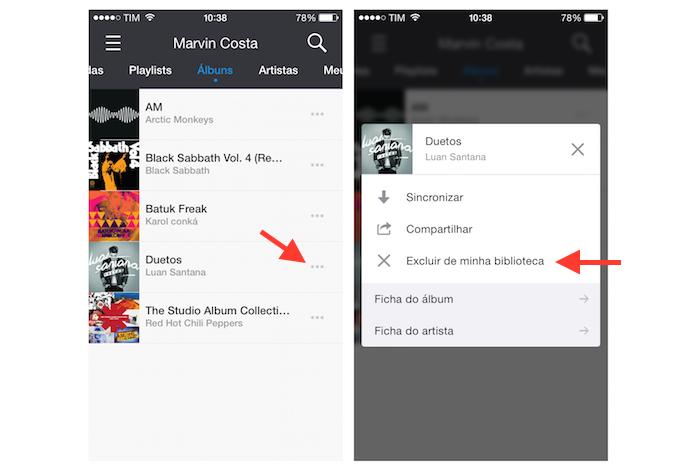 Acessando as configurações para um álbum para excluí-lo da biblioteca do usuário no Deezer (Foto: Reprodução/Marvin Costa)