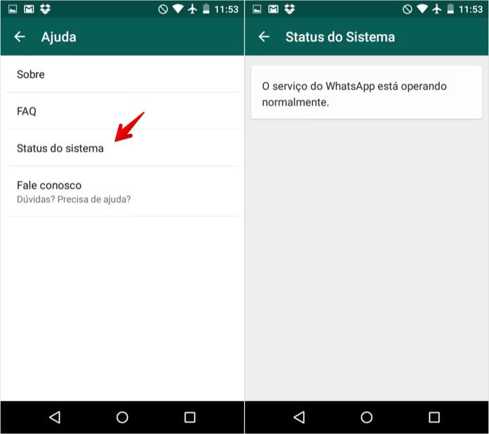 Verificando o status da rede do WhatsApp no Android (Foto: Reprodução/Helito Bijora)
