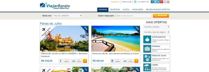 Viajar barato perde pontos por falta de filtros de pesquisa (Foto: Reprodução/Viajar Barato)