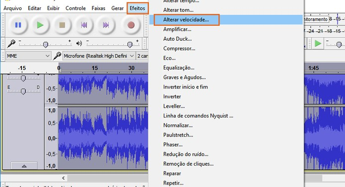 Todos os efeitos permitem personalização, como o de alterar velocidade do áudio (Foto: Reprodução/Barbara Mannara)
