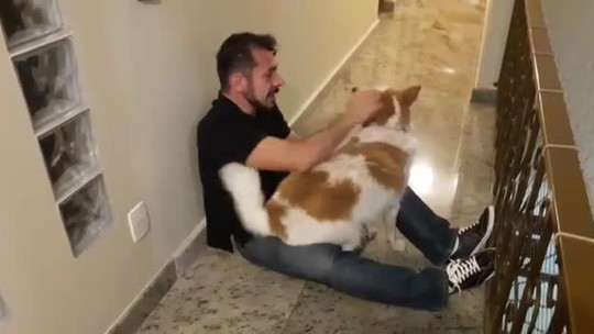 Ex-BBB Rômulo mostra reencontro com sua cachorrinha, que fica eufórica