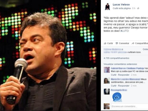 Filho de Shaolin, Lucas Veloso faz homenagem ao pai nas redes sociais (Foto: Reprodução/ Facebook)