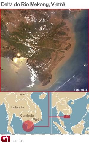 mapa Rio Mekong (Foto: Editoria de Arte/G1)