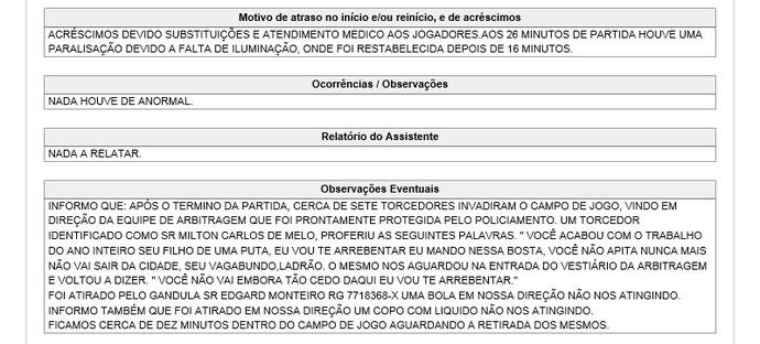 Em súmula, árbitro relata invasão de campo e cita nome do prefeito de Presidente Prudente (Foto: Editoria de Arte)