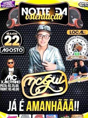 Cartaz anunciava show de Mc Gui em Acaraú (Foto: Divulgação)