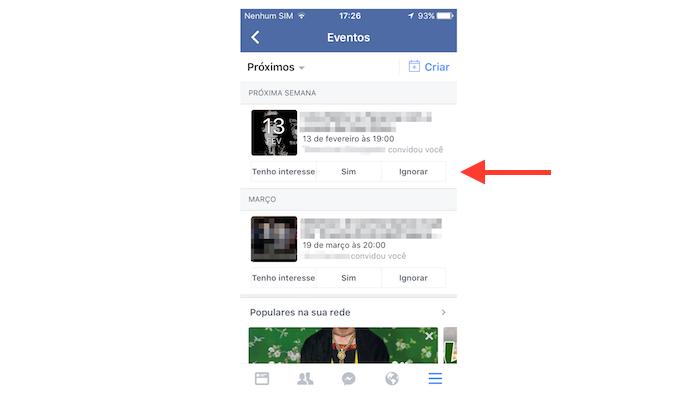 Mostrando interesse, aceitando ou recusando um convite de evento no Facebook para iPhone (Foto: Reprodução/Marvin Costa)