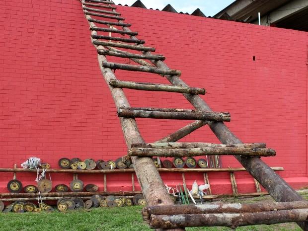 Escada de 20m foi feita com troco de árvore (Foto: Jamile Alves/G1 AM)