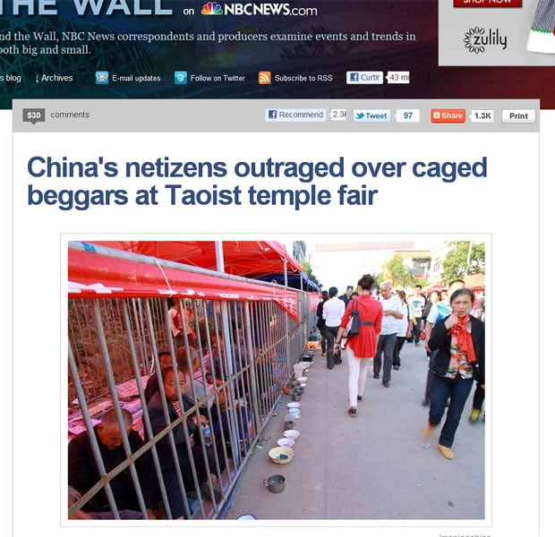 """Site da """"NBC News"""" mostra moradores de rua recolhidos em jaulas em cidade chinesa (Foto: Reprodução/""""NBC News"""")"""