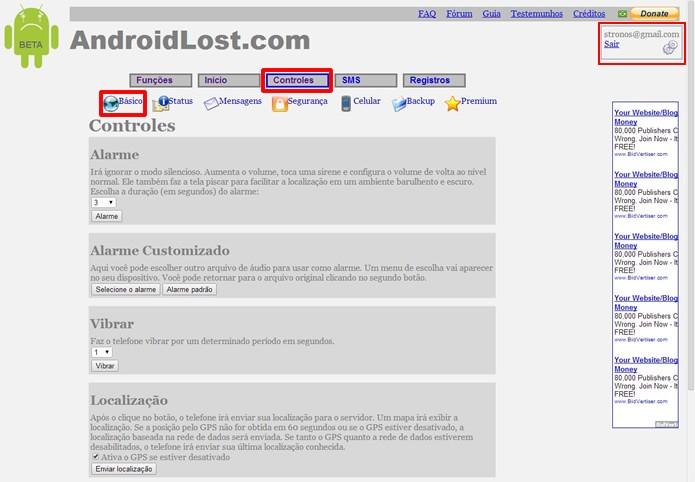 """Clique na aba """"Controle"""" e selecione a opção """"Básico"""" (Foto: Reprodução/Daniel Ribeiro)"""
