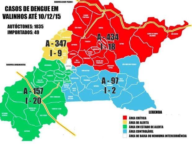 Mapa indica áreas com maior risco de transmissão da dengue, em Valinhos, SP (Foto: Prefeitura Municipal de Valinhos)