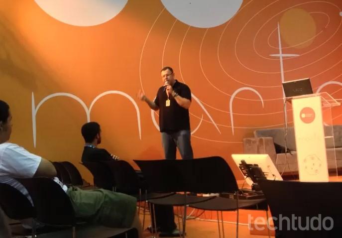 Cleidson Lima conta a história do museu do videogame itinerante na Campus Party 8 (Foto: Paulo Figueiredo/TechTudo)