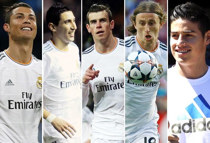 cristiano ronaldo, Di Maria, Modric, Bale e James rodriguez real madrid (Foto: Editoria de Arte)
