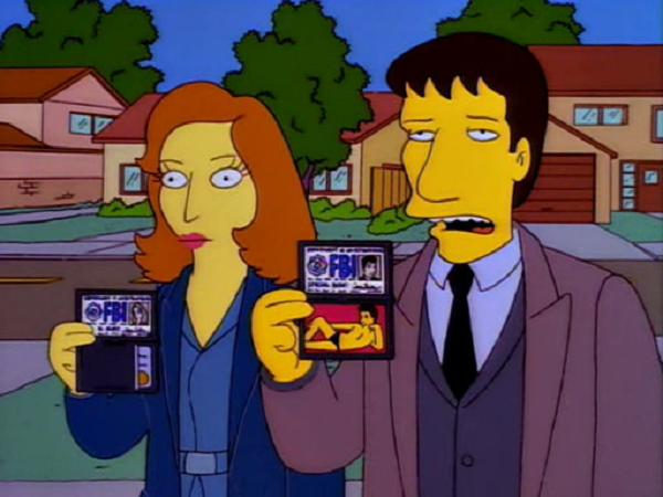 David Duchovny e Gillian Anderson, na pele de Mulder e Scully, participam de 'Os Simpsons' (Foto: Divulgação)
