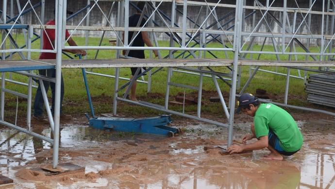 Corpo de Bombeiros vistoria estádio Portal da Amazônia (Foto: Jonatas Boni)