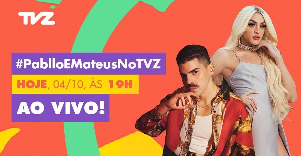 Pabllo Vittar e Mateus Carrilho no comando do TVZ Ao Vivo dessa quarta (10) (Foto: Divulgao/ Multishow)
