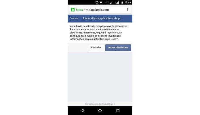 Mensagem para reativação da conexão de apps e sites ao Facebook (Foto: Reprodução/Raquel Freire)