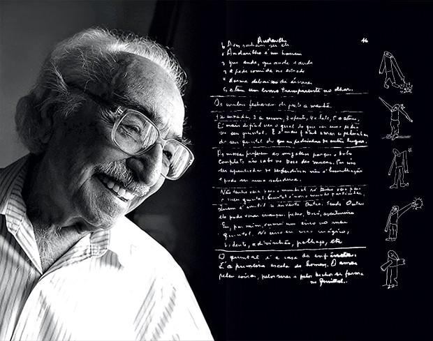 RASCUNHOS O poeta Manoel de Barros, em foto de 2006, e rascunhos do seu caderno de poesias. Há muito material inédito (Foto: Roberto Higa)