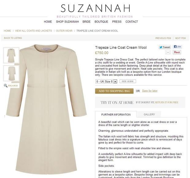 Vestido similar ao de Pippa Middleton (Foto: Reprodução)