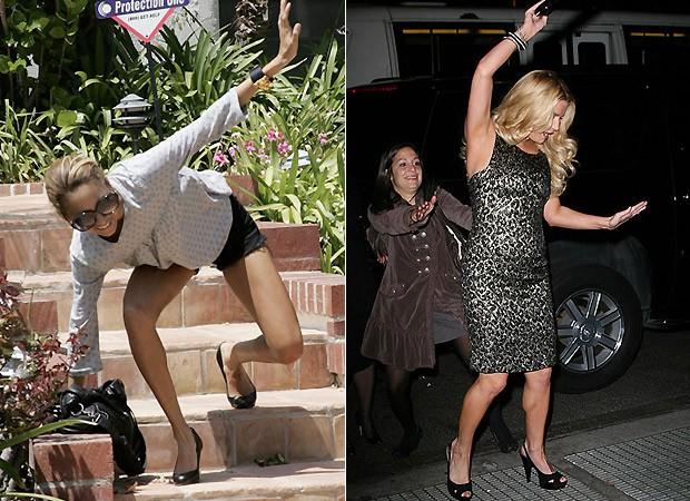 Nicole Richie (à esq.) e Jessica Simpson (à dir.) por pouco não se estatelaram no chão (Foto: Reprodução)