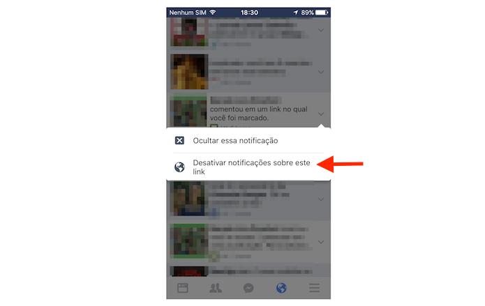 Desativando as notificações para uma postagem onde o usuário foi marcado pelo Facebook para iPhone (Foto: Reprodução/Marvin Costa)