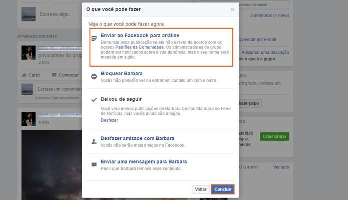 Envie a denúncia do post no grupo para o Facebook (Foto: Reprodução/Barbara Mannara)