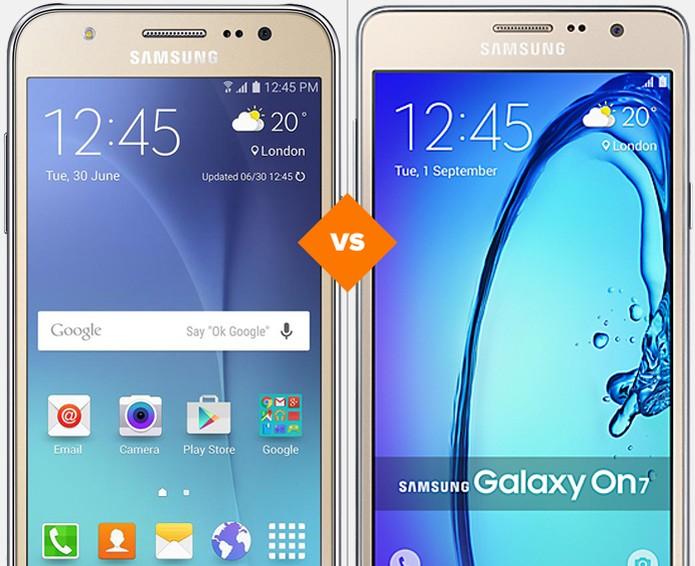 Galaxy J5 ou On7: veja qual celular Samsung por menos de R$ 700 é melhor (Foto: Arte/TechTudo)