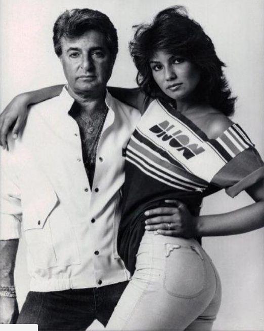 Humberto Saade e a musa Luiza Brunet num ensaio da Dijon nos anos 1980 (Foto: Reprodução)