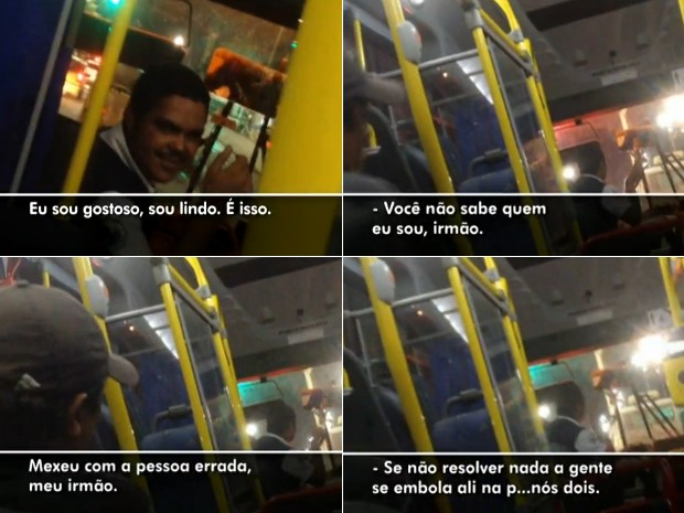 Motorista debocha, ameaça e chama para briga o passageiro (Foto: Reprodução / TV Globo)