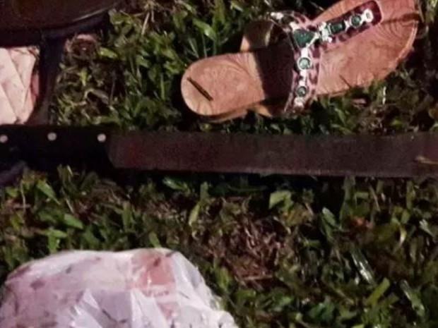 Suspeito usou facão para matar irmãs (Foto: Ederson Abi/WH Comunicações)