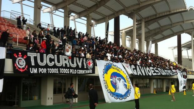 Torcida no treino do Corinthians em Nagoya (Foto: Zé Gonzalez / globoesporte.com)