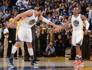 Andrew Borgut e Leandrinho Golden State Warriors NBA (Foto: Getty)