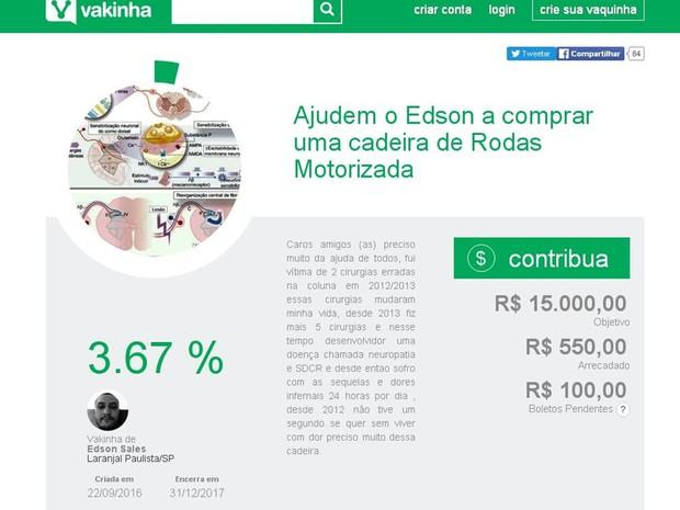 Edson faz vaquinha para comprar uma cadeira de rodas automática (Foto: Reprodução/ vakinha.com.br)