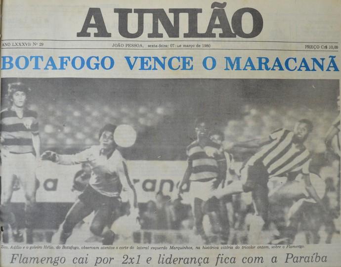 Repercussão de Flamengo 1 x 2 Botafogo-PB no jornal A União (Foto: Acervo do Jornal A União)