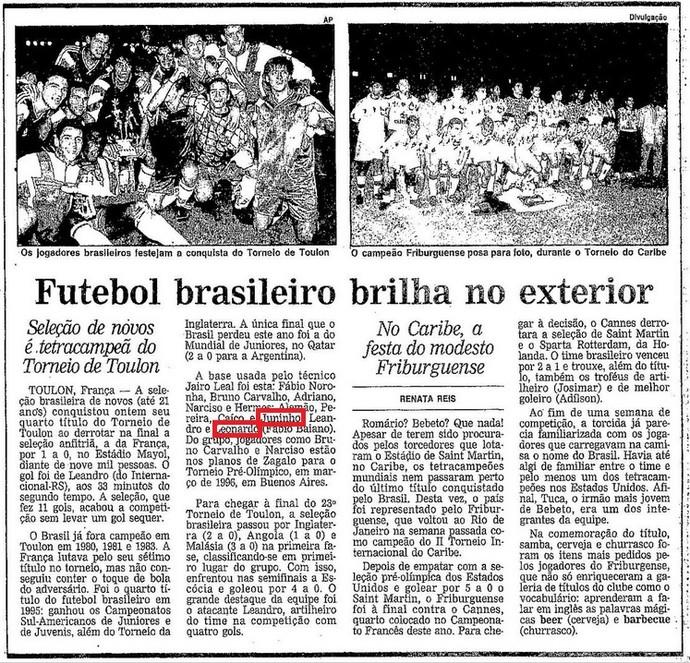 Título na França serviu de passaporte para desembarcar no Vasco (Foto: Reprodução / Jornal O Globo)